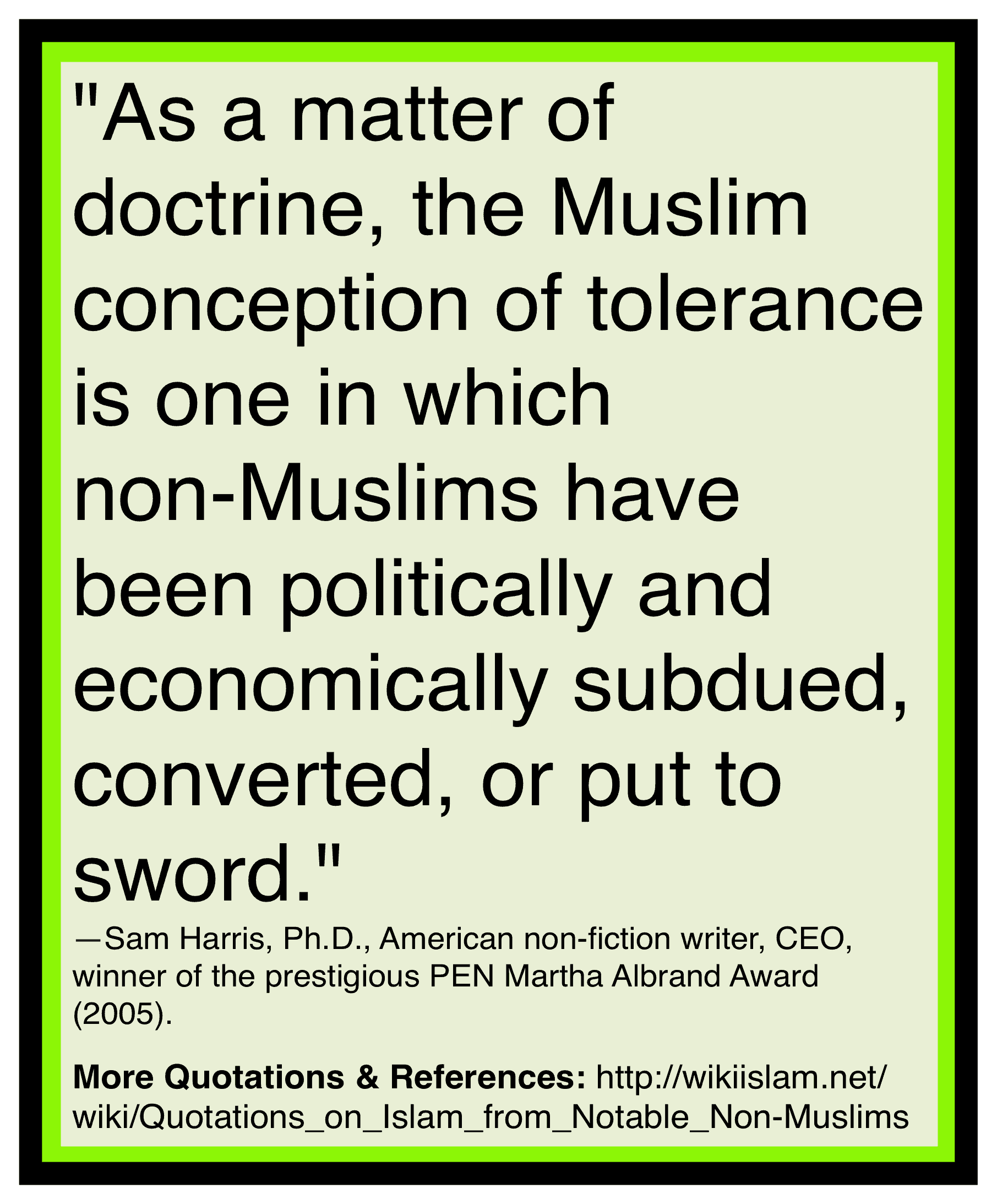 Islam is intolerant of others