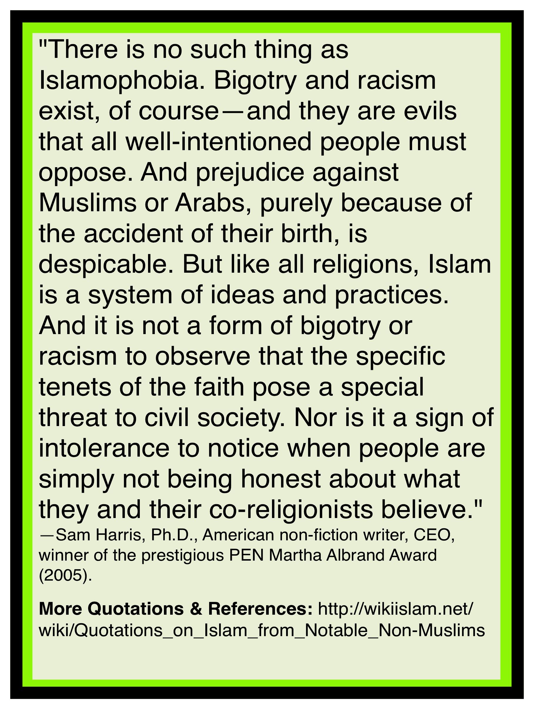 Islamophobia does not exist