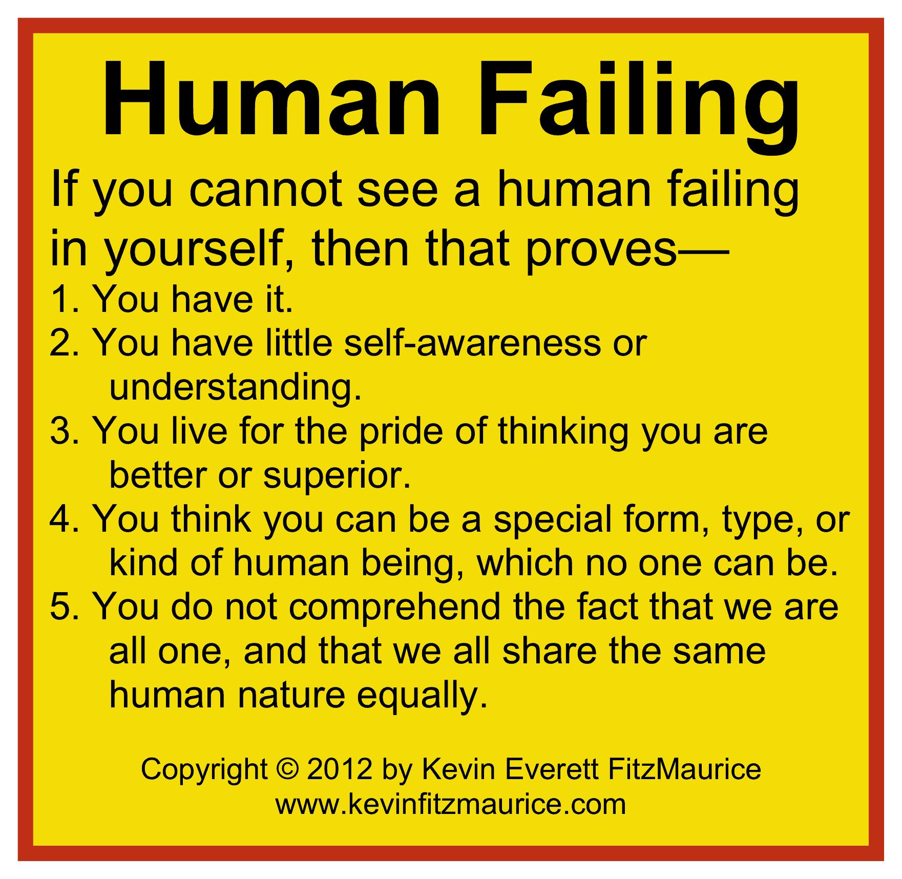 human failings universal