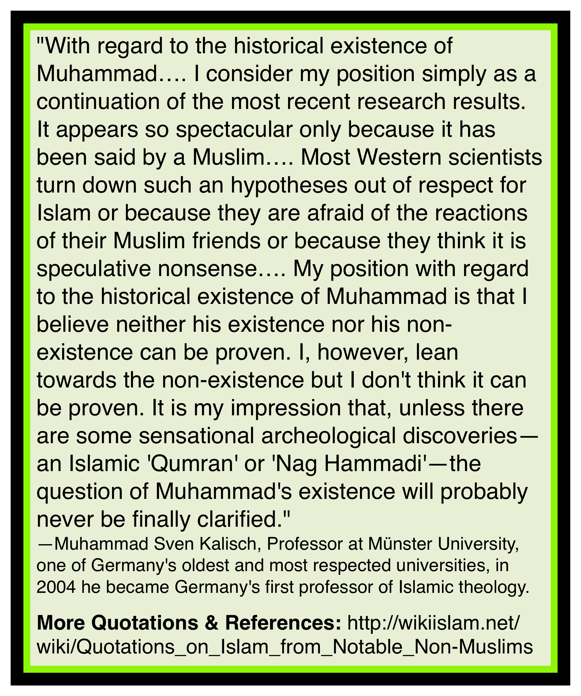Muhammad based upon false claims
