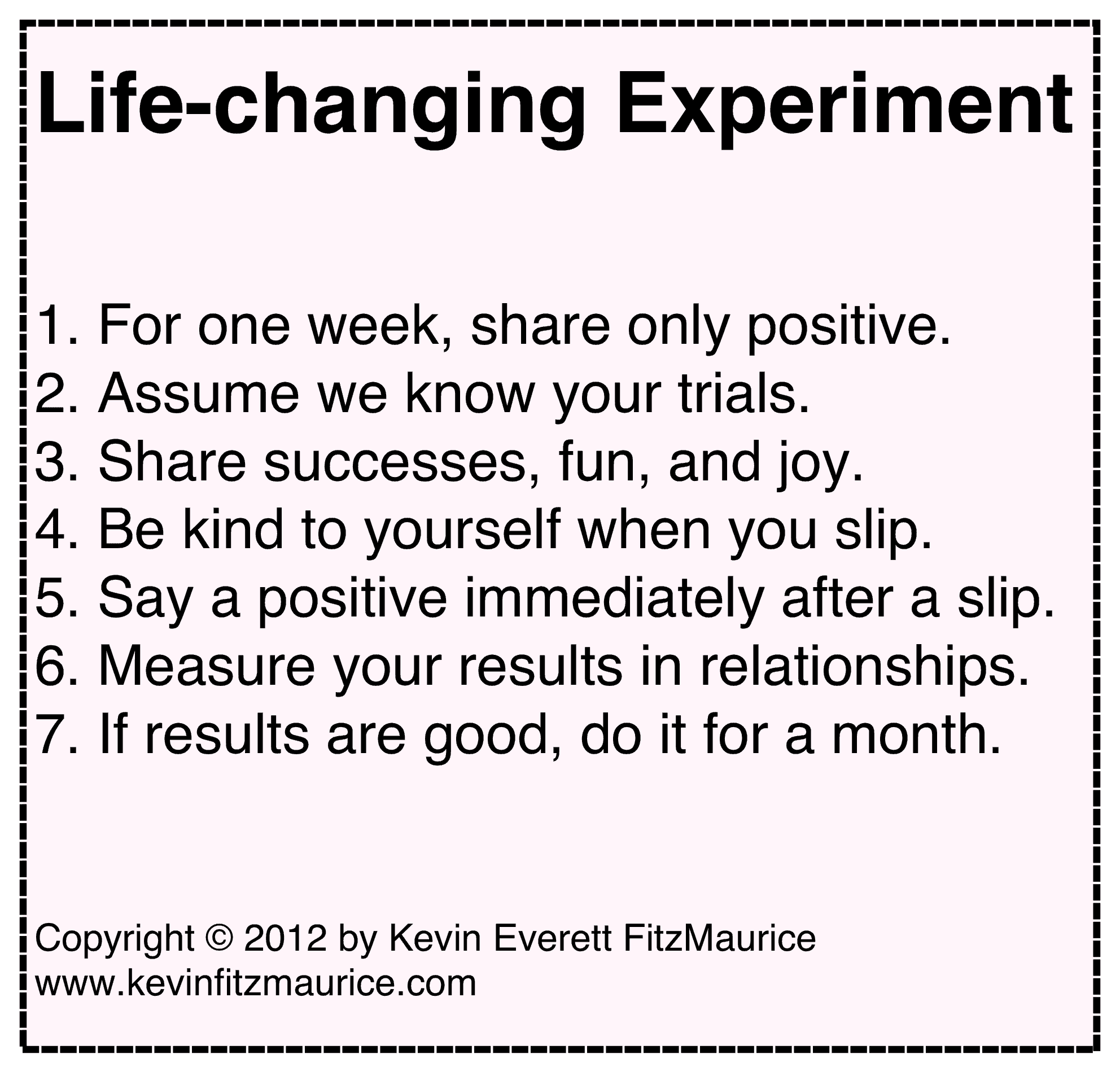 life-changing experiment