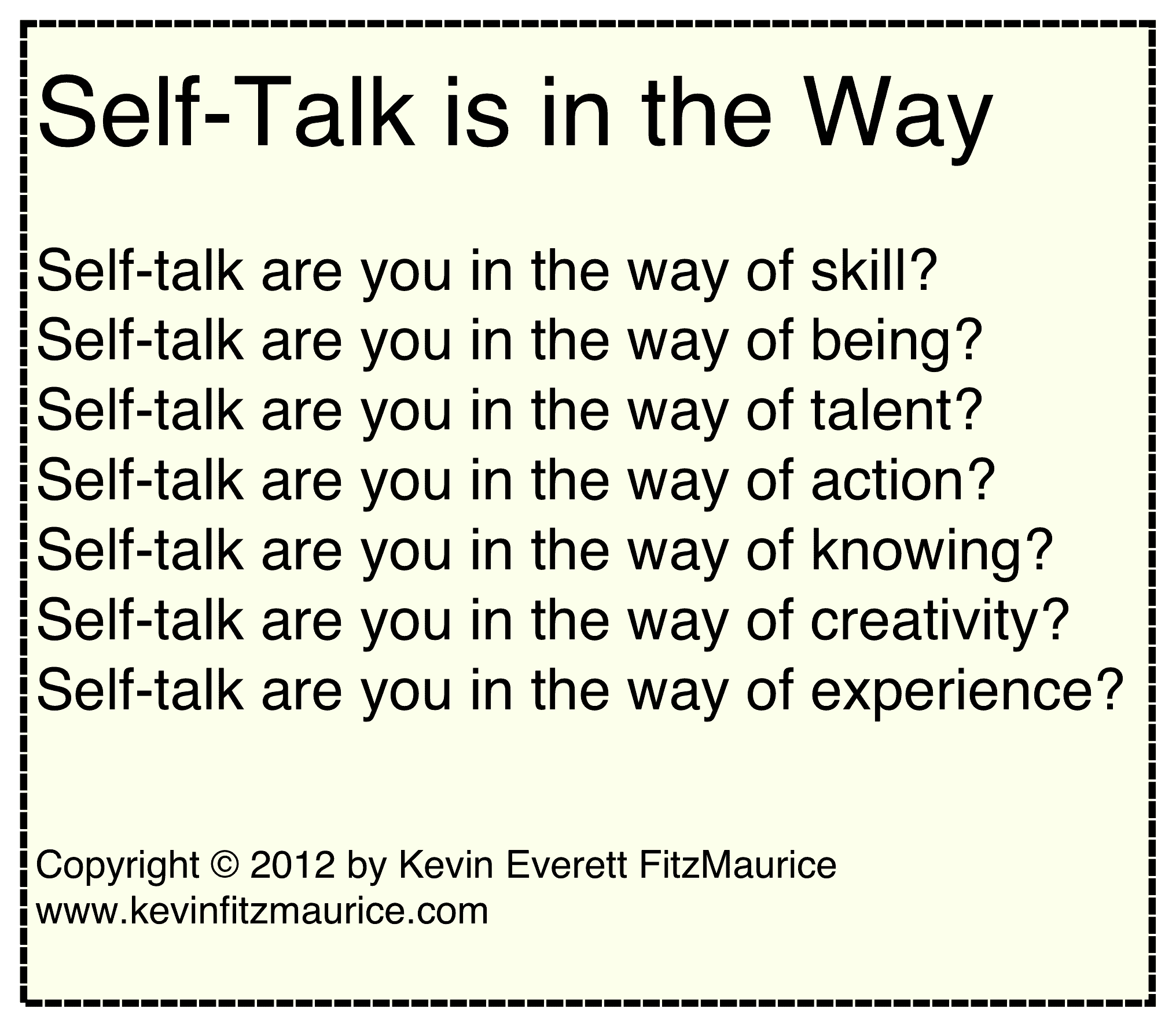 self-talk is in the way