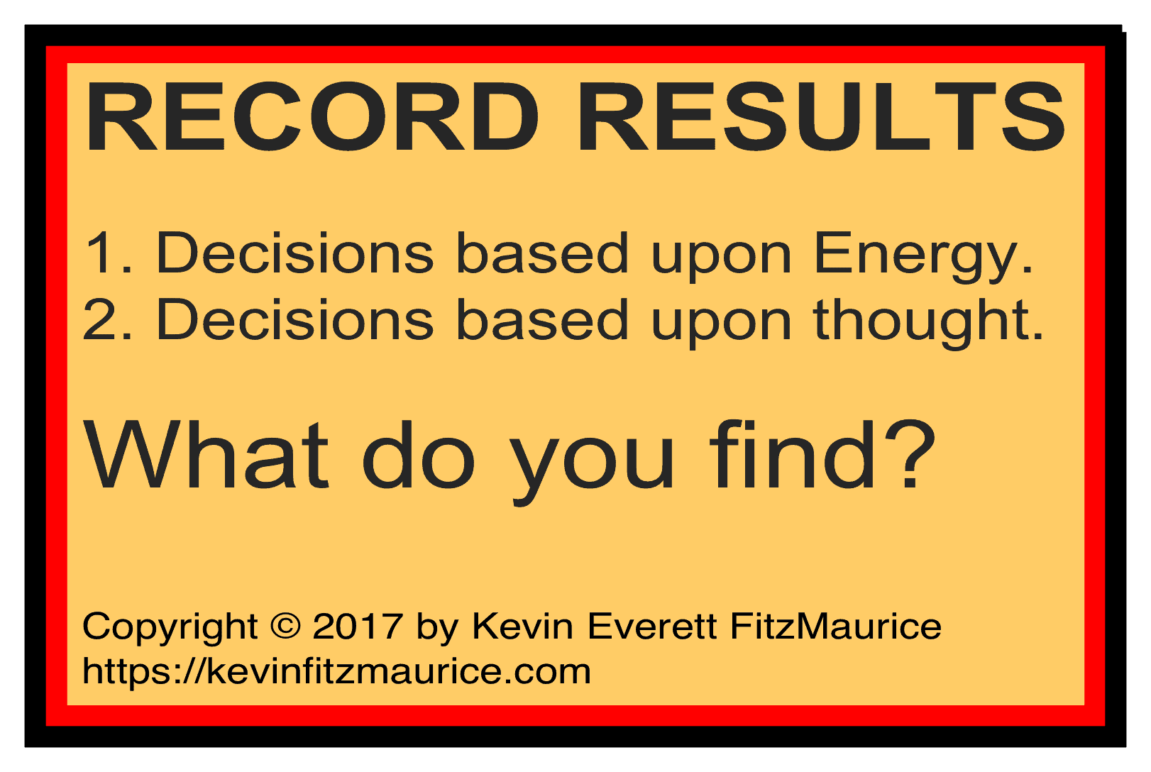 Record the results of how you make decisions.