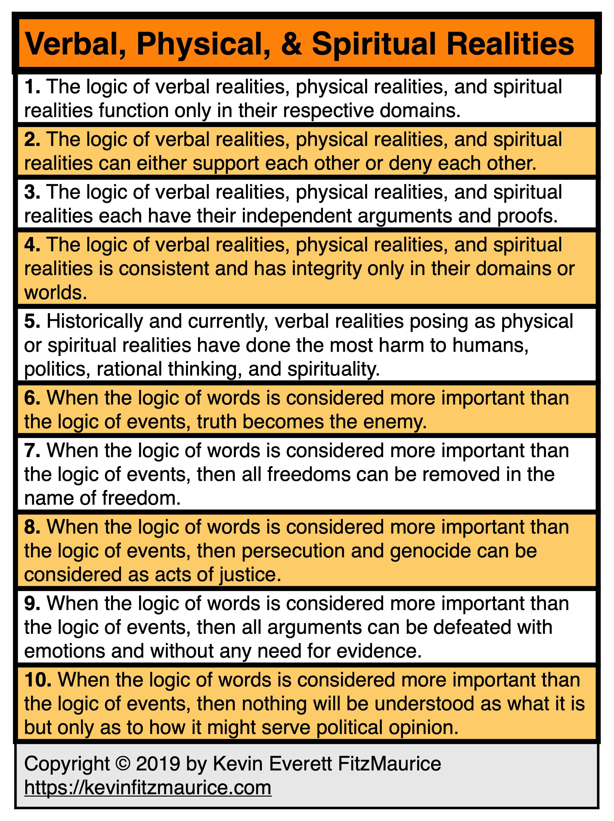Verbal, Physical, & Spiritual Realities