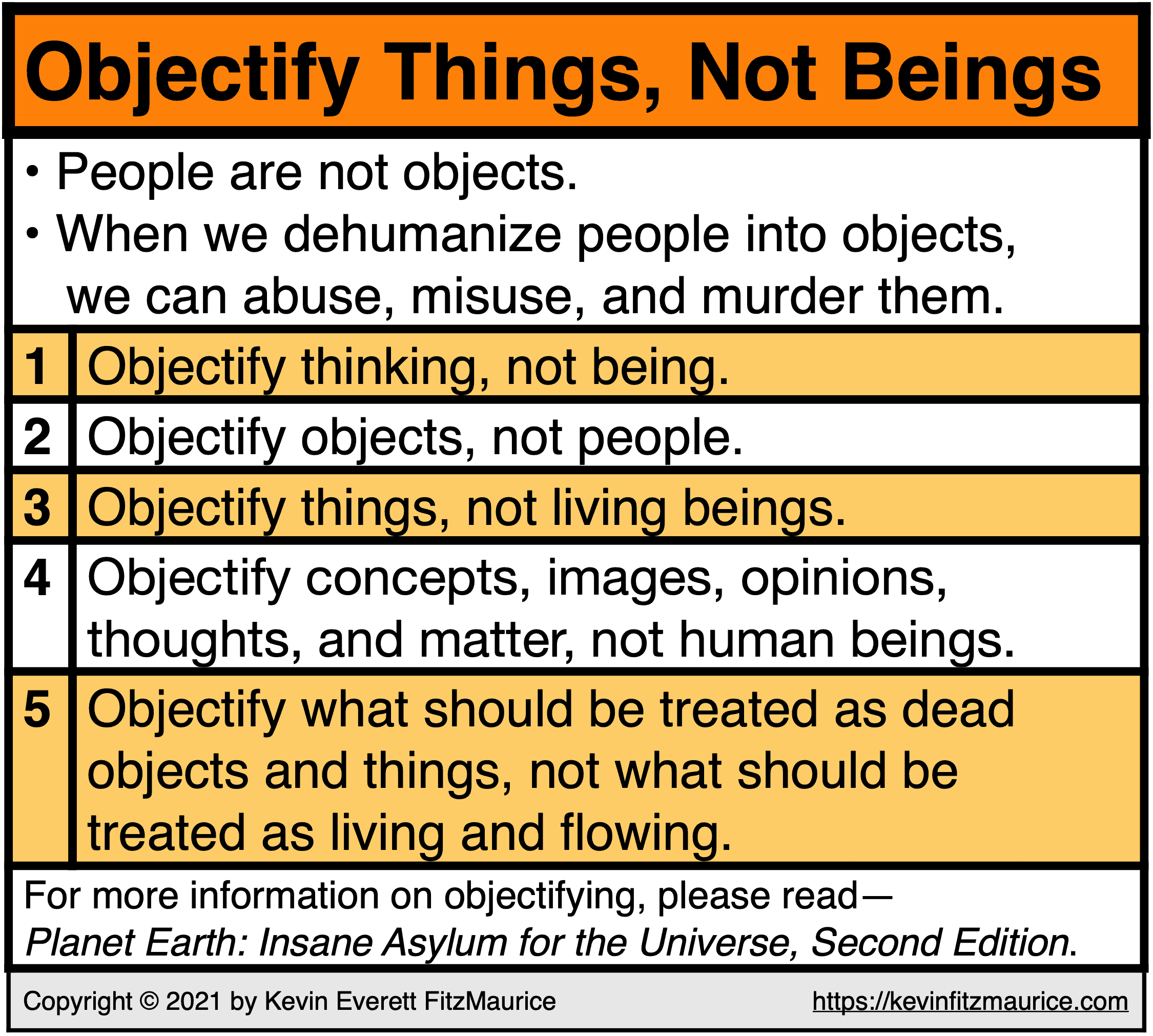 Objectify Things, Not Beings